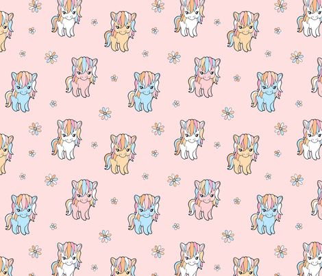 Pony Cuteness fabric by nossisel on Spoonflower - custom fabric