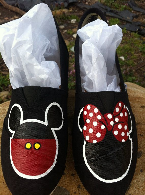 Hand painted Mickey Minnie Mouse canvas slip by Shoebeedoobeedoo,