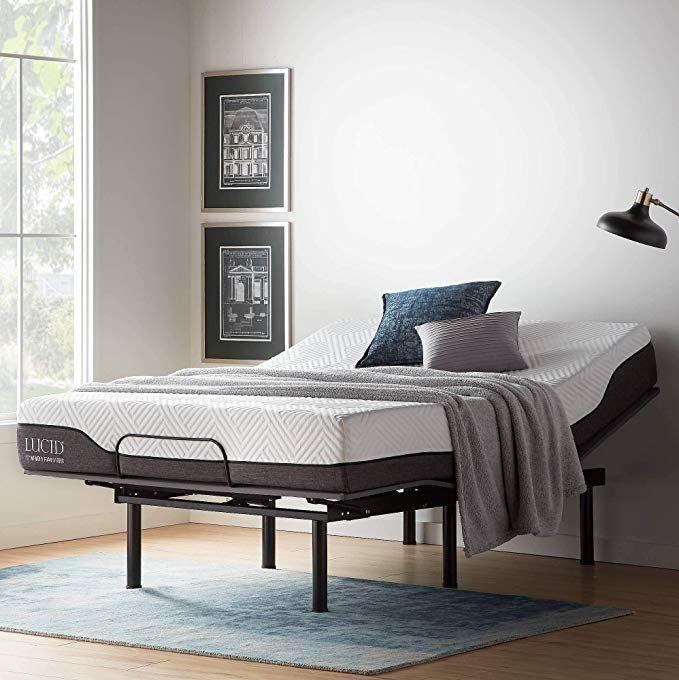 Amazon Com Lucid Lul150qqab L150 Bed Base Upholstered Frame