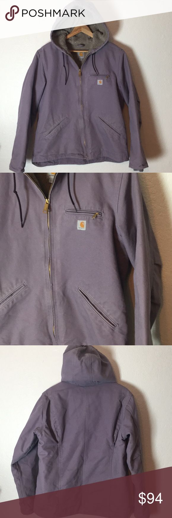 Purple Shearling Carhartt Jacket This jacket is a purple color. Has Shearling liner. Excellent used condition. Size L. Save on ✈️SHIPPING✈️and 🎁BUNDLE! I even give a discount on 3 or more regularly priced item bundles. I always accept reasonable offers with the offer button! 🚫❌Lowball offers please! Carhartt Jackets & Coats