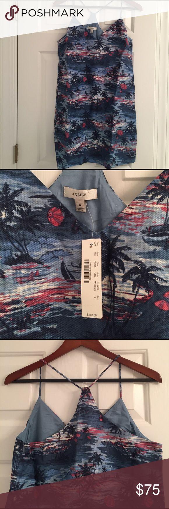 J.Crew Hawaiian Print Dress NWT beautiful razor back dress. Fun print for the summer. J. Crew Dresses