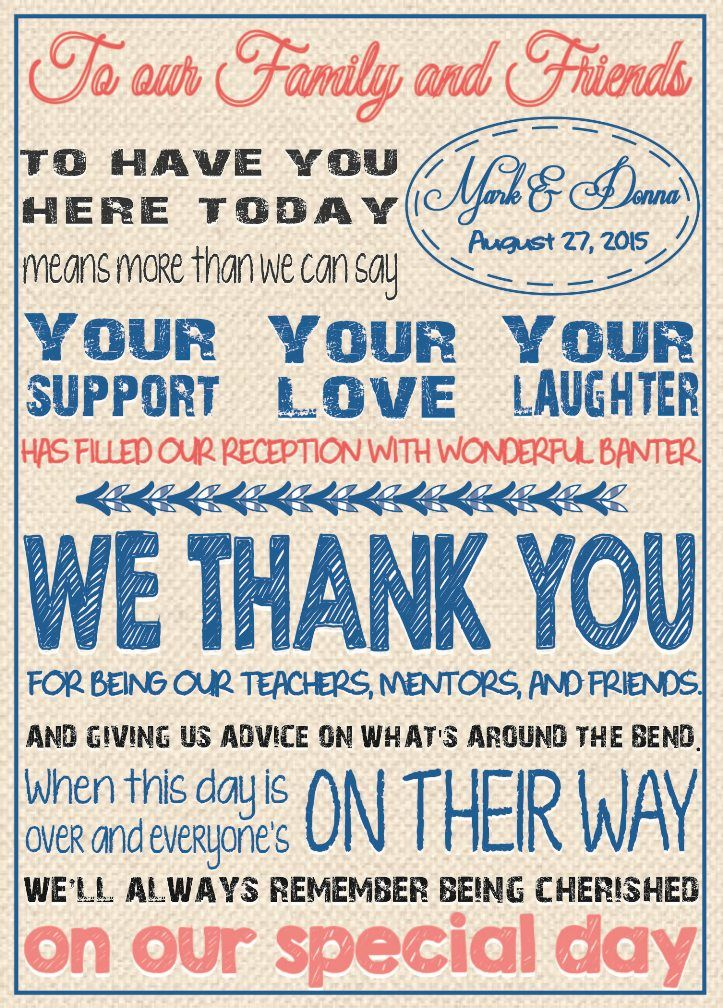 Thank You Card For Your Reception Tables Or To Mail