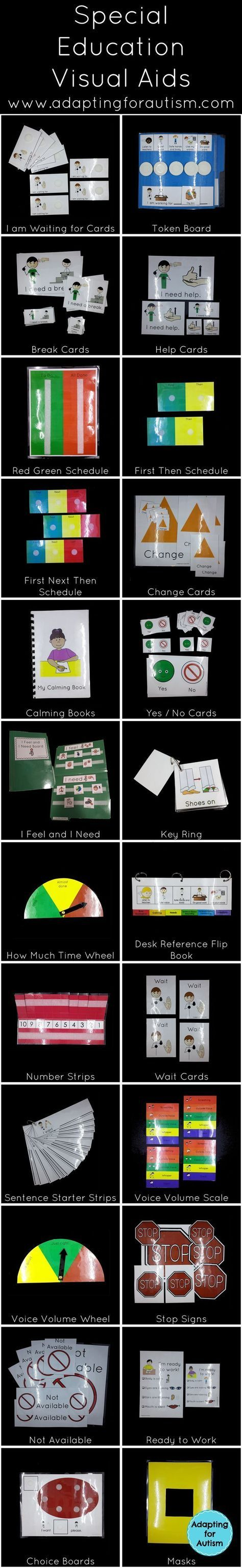 Twenty-four visual aids that can be used to support your special education students during any setting or subject. Using visual supports particularly with students with autism is a best practice and can increase independence and decrease transition diffic