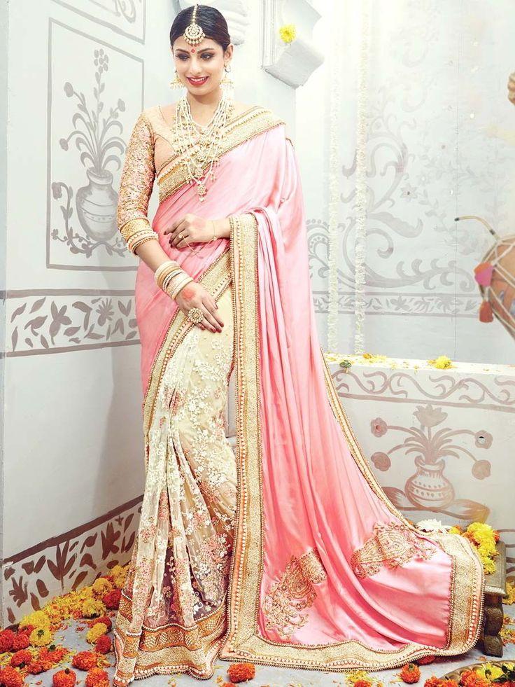 Розовое с кремовым дорогое свадебное индийское сари из атласа и гипюра, украшенное вышивкой люрексом, бисером и бусинками