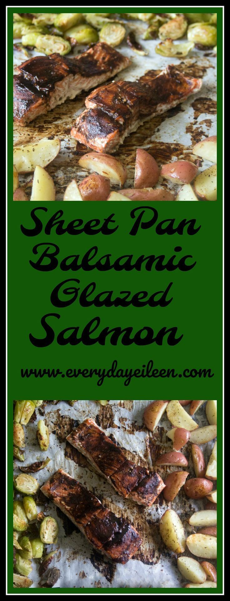 Sheet pan balsamic glazed salmon, potatoes and Brussels Sprouts. A no-fuss easy meal! Great for any week night tasty meal. Perfect for entertaining as it is a quick fix meal!  The Balsamic glaze adds a zesty flavor to the salmon!