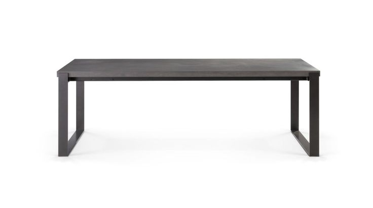 Dining table with 2 extensions of 50 cm (in lacquered finish). Top in MDF, finishes: concrete patina in dark or light grey, dark or light beige or concrete 350 light grey.   Base in steel with Manganese lacquer finish.   Available in other dimensions and finishes.  Manufactured in Europe.