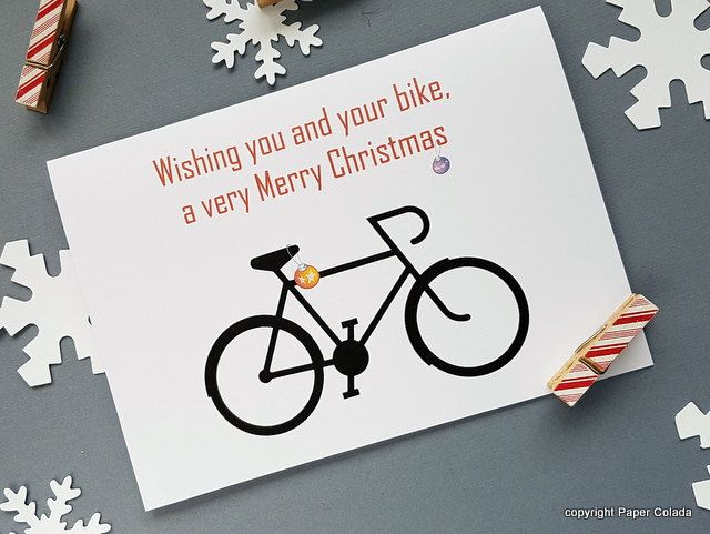 Bicycle Bike lover Christmas Card, Christmas Card for bike rider, Christmas card for cyclist, cycling enthusiast Christmas card by PaperColada on Etsy