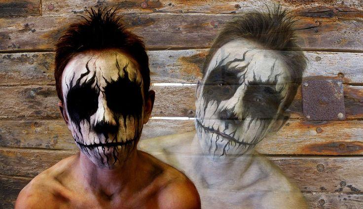 Fantasma realizado con acuacolor negro y blanco