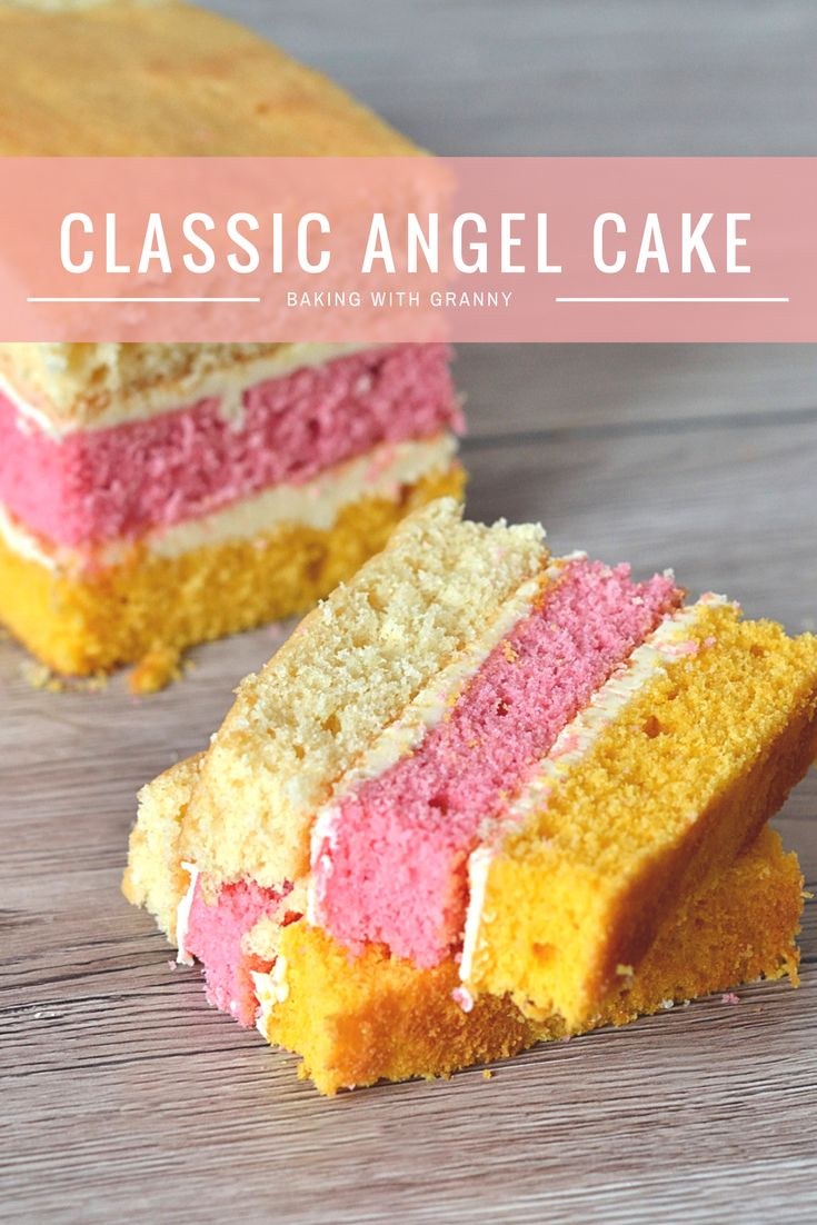 Angel Cake. The classic layer sponge loaf. Pink, yellow and plain, sandwiched together with buttercream.