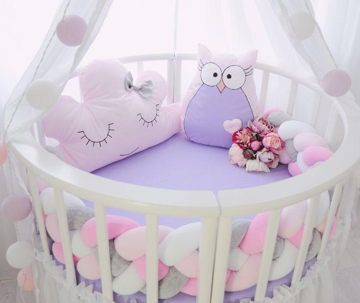 Бортики в кроватку. Декоративные подушки. Baby. Подушка облачко, сова. Коса.