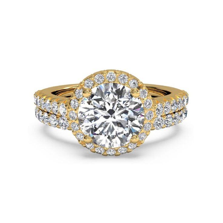 Hallmarked 14K Yellow Gold Solitaire Ring Set 1.60 Ct Diamond Wedding Band Sets #elitediamonds_us #SolitairewithAccents