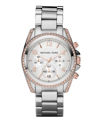 Michael Kors Mid-Size Silver Color and Rose Golden Stainless Steel Blair Chronograph Glitz Watch.Rosegold, Gold Accent, Christmas Gift