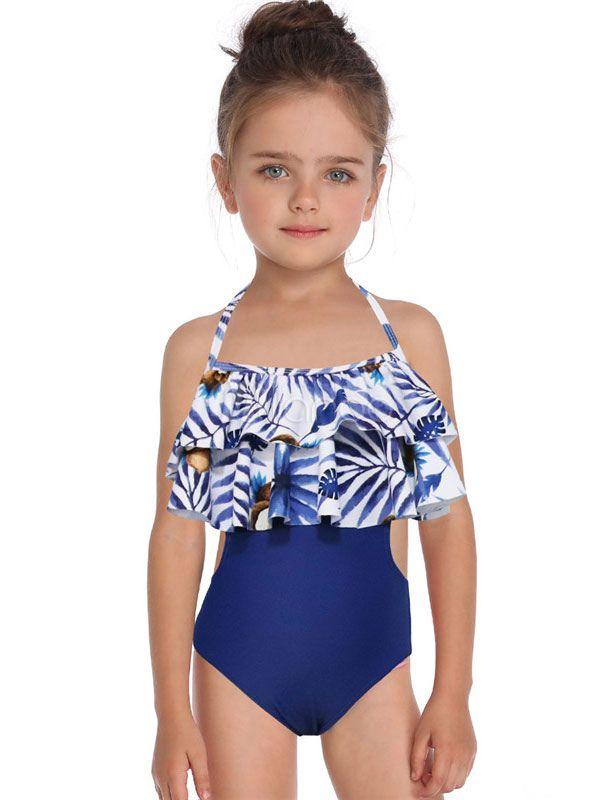 Baby Kid Girls One-Pieces Swimwear Halter Strap Ruffles Swimsuit Beachwear Bathing Suit