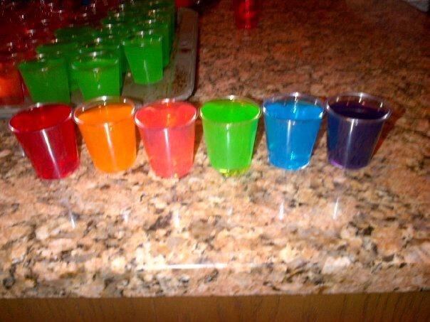 rainbow jello shots (non alcohol for 13th birthday)