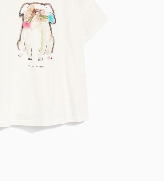 Imagem 3 de ANIMAL PRINT T-SHIRT WITH POMPOMS AND FRINGING da Zara