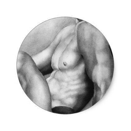Beautiful Elegant Fine Art Male Model Body Builder Classic Round Sticker - beauty gifts stylish beautiful cool