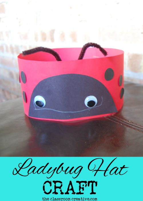 Ladybug counting hat craft for spring! Cute idea!
