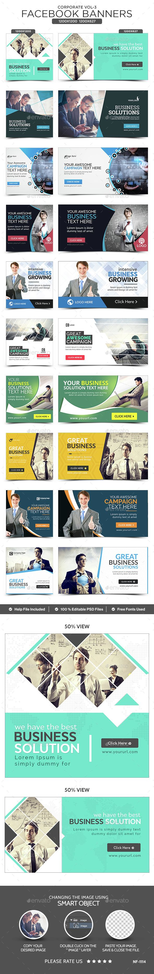 Corporate Facebook Banners - 10 Designs - 20 Banners - Social Media Web Elements