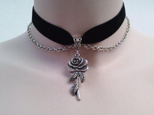 ROSE Charm With CHAIN Drapes BLACK Velvet Ribbon Choker - si... or choose…