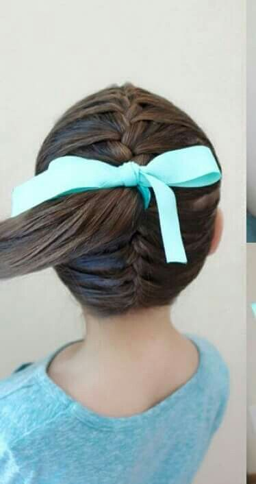 Double french braid from top and bottom to make a single pony tail.