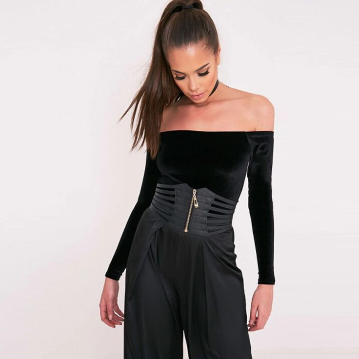Sexy Women Corset Belt PU Leather Hollow Out Zip Elastic black - Tomtop.com