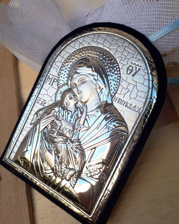 Μπομπονιέρα βάπτισης ασημένια εικόνα της Παναγίας μοναδικής ποιότητας !καλεστε 2105157506