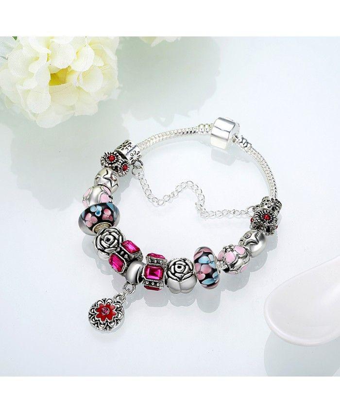 New Bracelet Multicolor Petals Black Charms With Flower Pendant DIY Bracelet