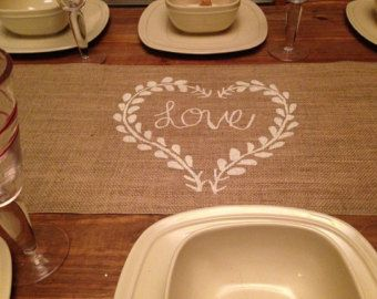 """Burlap Table Runner 12"""", 14"""" & 15"""" wide with Friends Faith Family or Live Laugh…"""