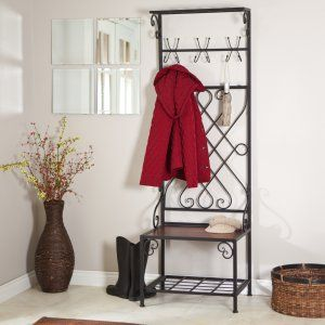 weathered oak metal entryway shoe bench with coat rack hall tree storage