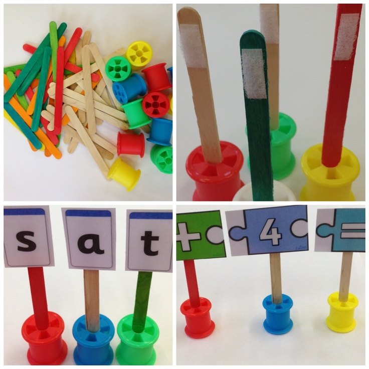 Cotton reels & lolly sticks & Velcro! Great for making and breaking words. Use with words/pictures to make sentences/stories, laminate blank paper and use as a whiteboard to write in missing words. Make sums with numbers. Use pictures of the children and use as counters for games (or use coloured stars, shapes etc.) Many uses!! Literacy and numeracy, English and math, school, activity ideas