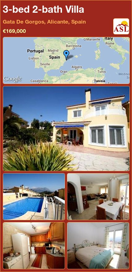 3-bed 2-bath Villa in Gata De Gorgos, Alicante, Spain ►€169,000 #PropertyForSaleInSpain