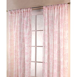 Vintage pink white 84 inch toile sheer curtain panels