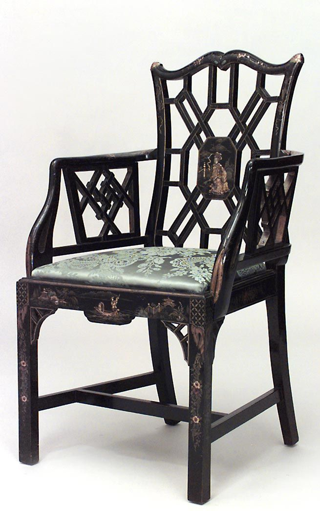 Asian Wood Arm Chairs ~ English chinese chippendale seating chair arm pair