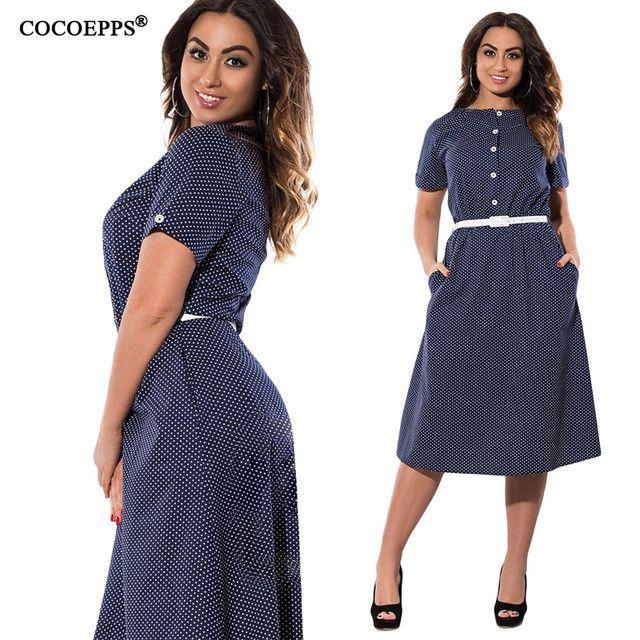 Elegant polka dot summer knee-length chiffon work Dress