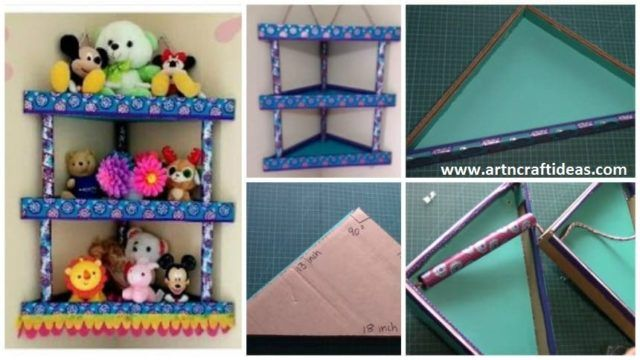 How To Make Cardboard Corner Shelf Rack Art Craft