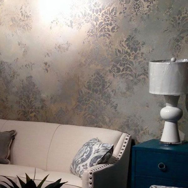 Stenciled Metallic Plaster Decorative Wall Finish and elegant damask fabric wallpaper wall stencils