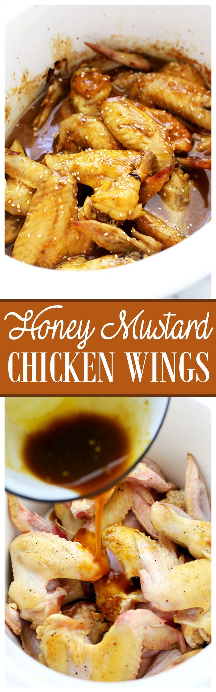 Crock Pot Honey Mustard Chicken Wings | www.diethood.com | The classic, delicious sweet-tangy duo of honey and mustard combined with chicken wings and prepared in the crock pot. Delicious doesn't even begin to describe this amazingness!