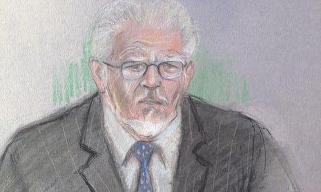 Court artist sketch by Elizabeth Cook of Rolf Harris