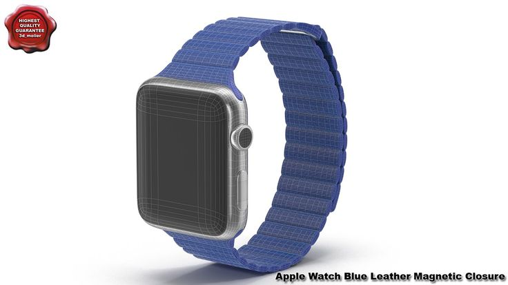 3d model of Apple Watch Blue Leather Magnetic Closure by 3d_molier Inter...