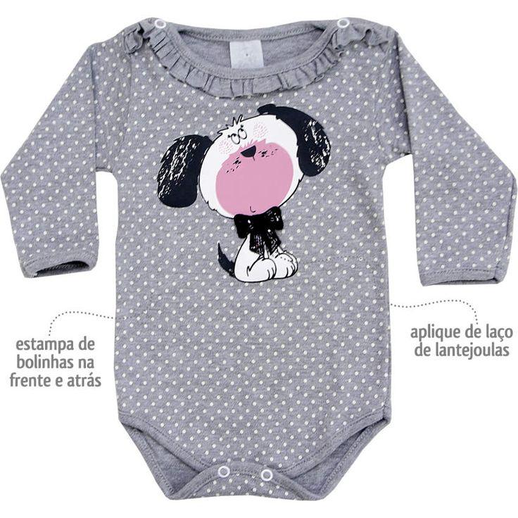 Body Bebê Menina Poá Cachorrinho Manga Longa Cinza - Patimini :: 764 Kids | Roupa bebê e infantil