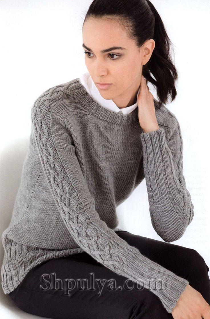 Пуловер с аранами на рукавах, вязаный спицами