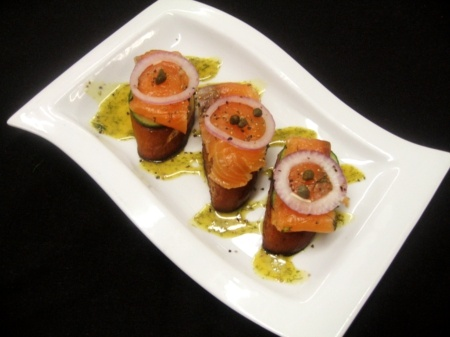 House-Cured Salmon on Grilled Pretzel Bread with Dill-Mustard Sauce & Burpless Cucumber