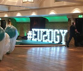 Large Light Up Letters for Corporate Celebrations. Eulogy's 20th birthday in London