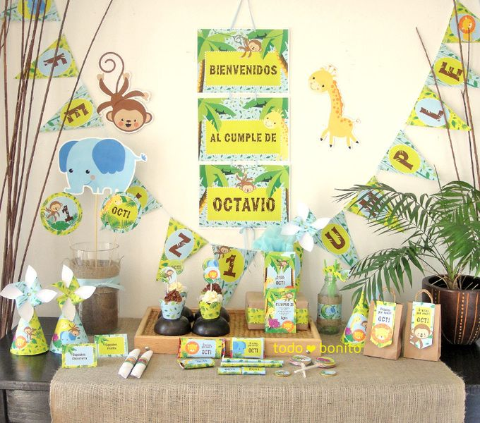 Decoraciones imprimibles de animales de la selva cumple - Decoracion fiestas bebes ...