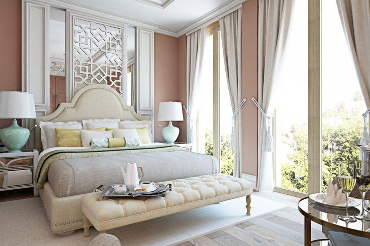 Спальня в  цветах:   Бежевый, Белый, Коричневый, Светло-серый, Серый.  Спальня в  стиле:   Неоклассика.