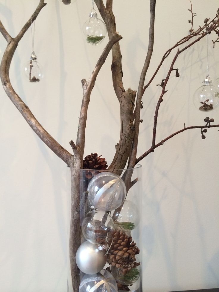Australian bush Christmas DIY decorations with twigs, gumnuts, pine cones and glass baubles