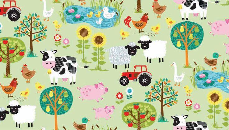 Makower uk jolly farm scenic fabric by sewfriendlyshop on for Nursery fabric uk