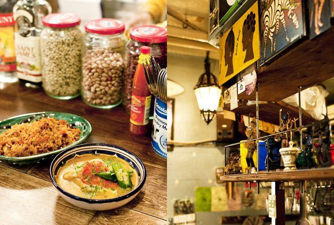 アフリカやカリブ、中近東と多国籍な料理が黒板にズラリと並ぶ、熱帯音楽酒場。ロスバルバドス バターナッツのヴィーガンタルト