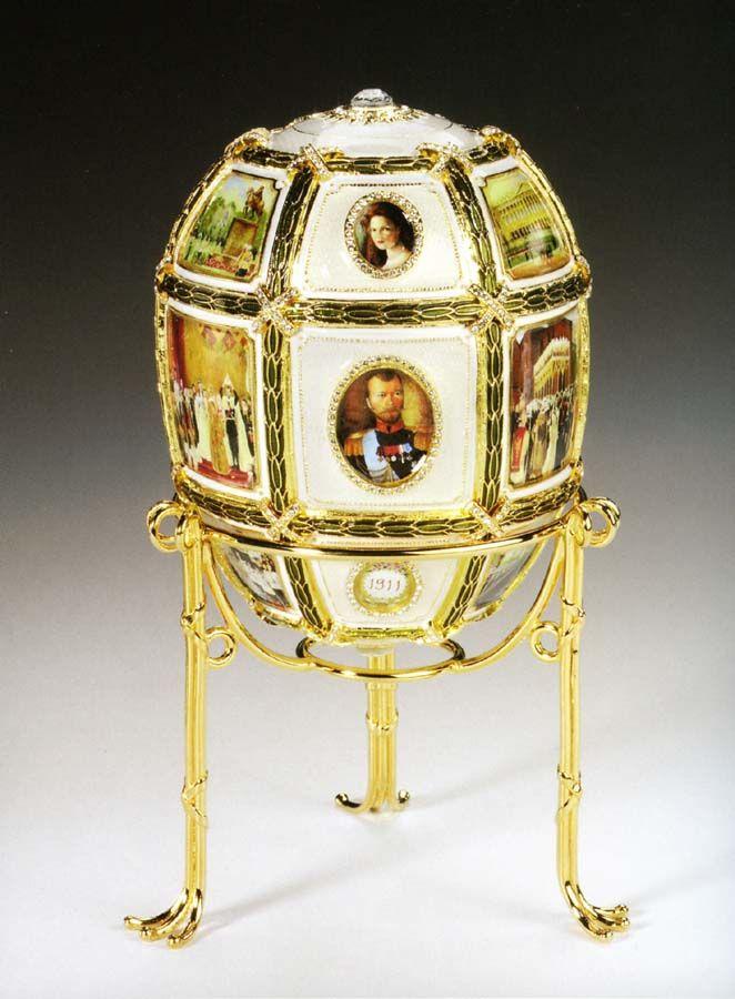 Fifteenth Anniversary Egg, 1911, Presented by Nicholas II to Czarina Alexandra Fyodorovna. Gold, platinum, diamonds, ivory, rock crystal. Kept in Svyaz' Vremyon Fund - Viktor Vekselberg collection - Moscow.