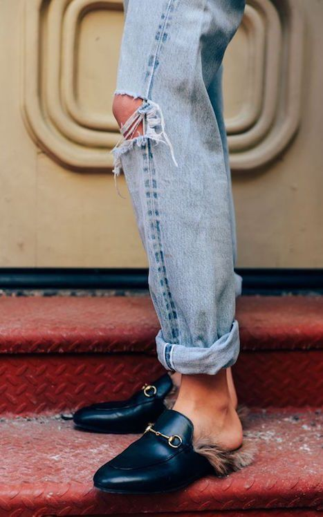 mocassins mules Gucci fourrure yéti street look inspirations it girls